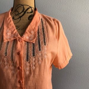 Modcloth Murtlewood of California Orange Blouse L